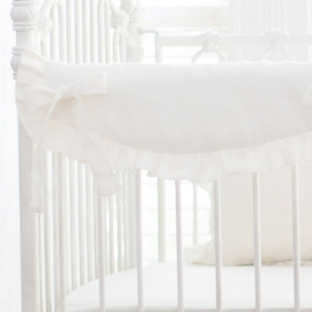 Short Side Crib Rail Guard | Washed Linen in Ivory Collection