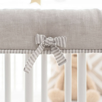 Crib Rail Protector | Washed Linen in Oatmeal Collection