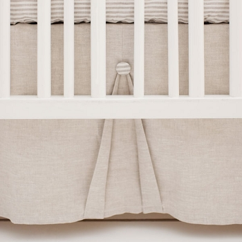 Linen Baby Crib Skirt Pleated | Washed Linen in Oatmeal Collection