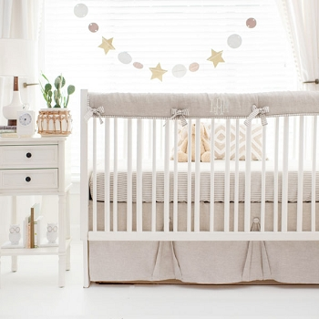 Gender Neutral Crib Bedding | Washed Linen in Oatmeal