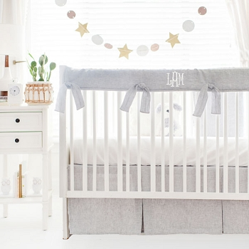 Gray Baby Bedding | Sea Salt Solid Washed Linen Collection