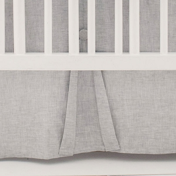 Linen Crib Skirt Pleated | Washed Sea Salt Collection