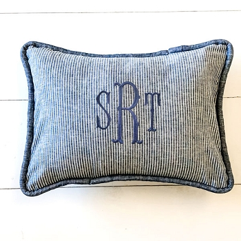 Navy Linen Pillow | Washed Linen in Indigo Stripe Collection