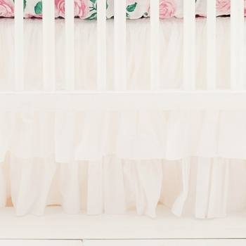 White Ruffle Crib Skirt 3 Tier