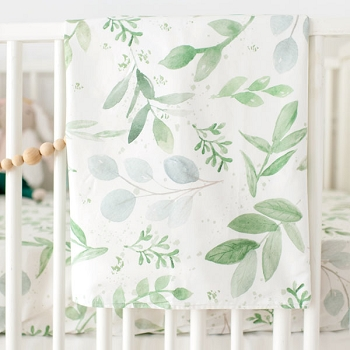 Green Leaf Baby Blanket | Willow Crib Collection