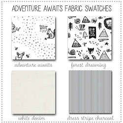 Adventure Awaits Crib Collection Fabric Swatches Only