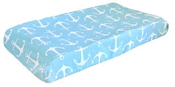 Navy Nautical Changing Pad Cover | Anchors Away in Aqua Crib Collection