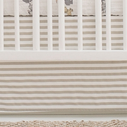 White and Khaki Stripe Nursery Skirt | Animal Parade Crib Collection
