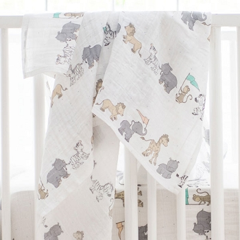 Muslin Swaddle Baby Blanket | Animal Parade Crib Collection