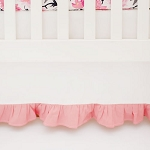 White and Coral Ruffled Crib Skirt | Rosewater in Coral Collection