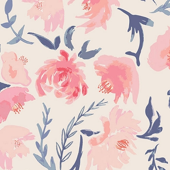 Navy, Coral and Peach Floral | Art Gallery Fabrics Aquarelle Study Wash