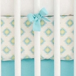 Aqua and Gold Tribal Crib Sheet | Aztec Baby in Aqua Collection