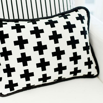 Black Pillow | Black Swiss Cross Crib Collection