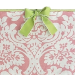 Pink Damask Bumper with Green Trim
