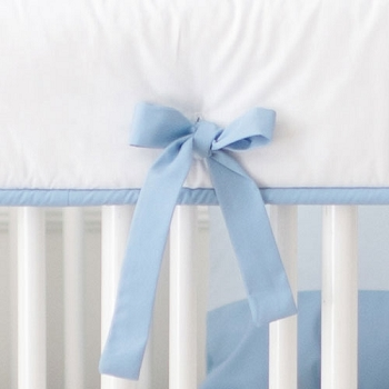 White and Blue Crib Rail Cover Only