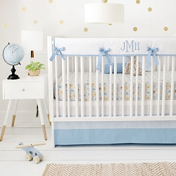 Blue Woodland Nursery Bedding Set | Born Wild in Blue