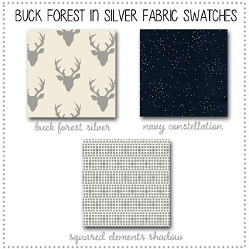 Buck Forest in Silver Crib Collection Fabric Swatches Only