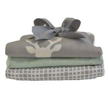 Gray Deer Burp Cloths | Buck Forest in Mist Crib Collection