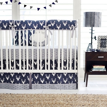 Navy Boy Woodland Deer Crib Bedding Set | Buck Forest in Twilight Deer Crib Rail Guard Bedding Collection