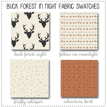 Buck Forest in Night Crib Collection Fabric Swatches Only