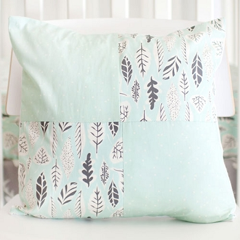 Mint Leaf Patch Pillow | Buck Forest in Mist Crib Collection
