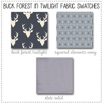 Buck Forest in Twilight Deer Crib Collection Fabric Swatches Only