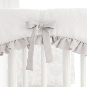 White and Gray Crib Rail Cover with Ruffle