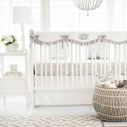 Gray Crib Rail Guard Set | Bunny Love Collection
