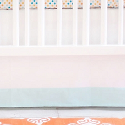 White and Aqua Crib Skirt | Carnival Collection