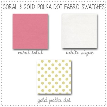 Coral and Gold Baby Crib Collection Fabric Swatches Only