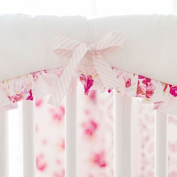 Floral Crib Rail Cover | Pink Corsage Charm Collection