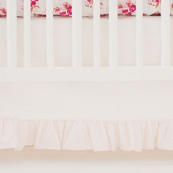 White Crib Skirt with Ruffle | Pink Corsage Charm Rose Collection
