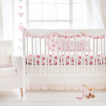 Crib Rail Cover Set | Pink Corsage Charm Collection