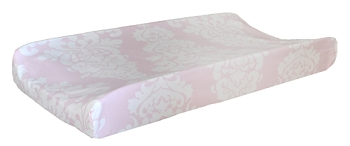 Pink Damask Changing Pad Cover | Cross My Heart Crib Collection