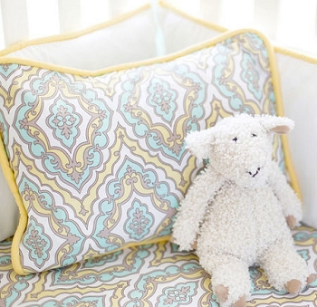 Aqua and Yellow Damask Pillow | Dreamweaver Crib Collection
