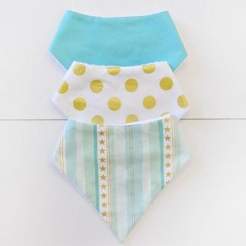 Baby Bandana Bib Set | Stars and Stripes in Aqua
