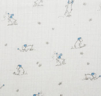 Puppy Fabric | Shannon Fabrics Double Gauze Puppy Embrace Sky