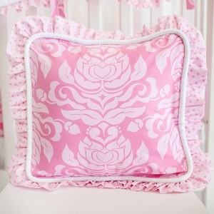Damask Pillow | Pink Extravaganza Crib Collection
