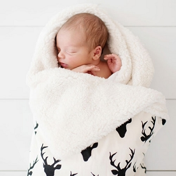 Black Deer Faux Fur Baby Blanket | Buck Forest in Night Collection