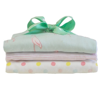 Mint Burp Cloth Set | Flamingo Baby in Pink Collection