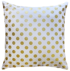 Gold Polka Dot Pillow in Mint