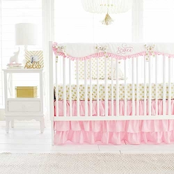 Pink and Gold Nursery Set | Gold Polka Dot in Pink Crib Collection
