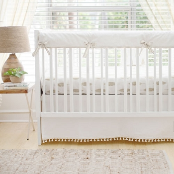 Gold and White Nursery Bedding | Gold Dust Feather Collection