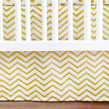 Gold Chevron Crib Skirt | Gold Rush Crib Collection