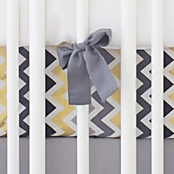 Gold and Gray Chevron Crib Sheet | Golden Days in Gray Collection