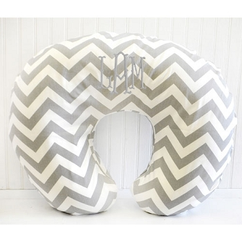 Gray Chevron Nursing Pillow Slipcover | Zig Zag Bedding Collection