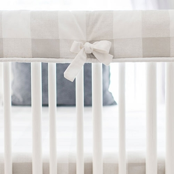 White and Grey Crib Guard Protector | Grey Buffalo Check Baby Bedding Collection