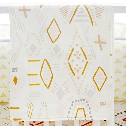 Gold Tribal Baby Blanket | Head West Crib Collection