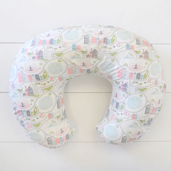 Coral and Gray Nursing Pillow Slipcover | In the City Crib Collection