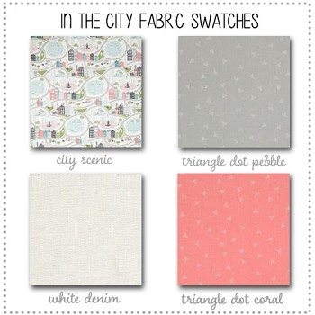 In the City Crib Bedding Collection Fabric Swatches Only